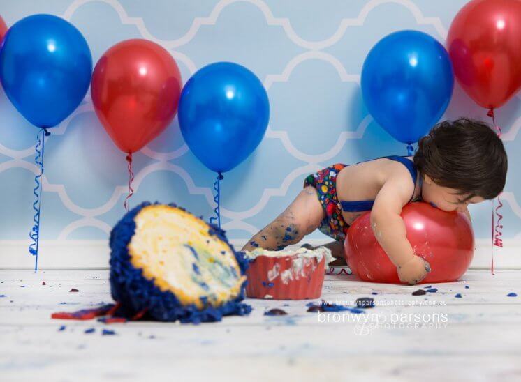 baby boy studio cake smash